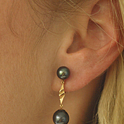 Vintage 14k Black Pearl Drop Earrings