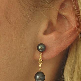 Vintage 14k Black Pearl Drop Earrings