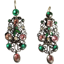 Elaborate Georgian Coloured Paste Earrings