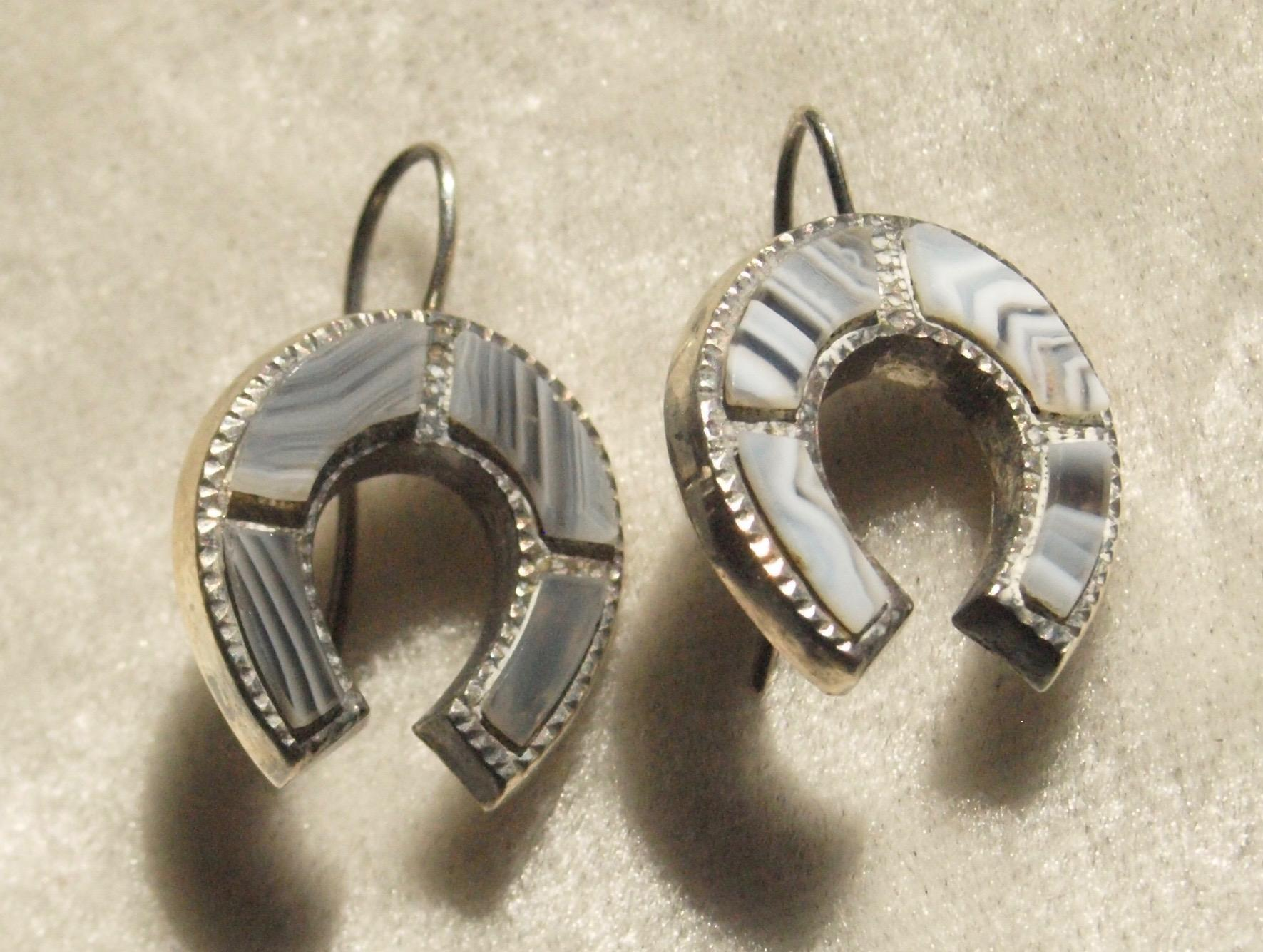 Victorian Scottish Agate Silver Horseshoe Earrings