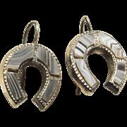 Victorian Scottish Agate Silver Horseshoe Earrings
