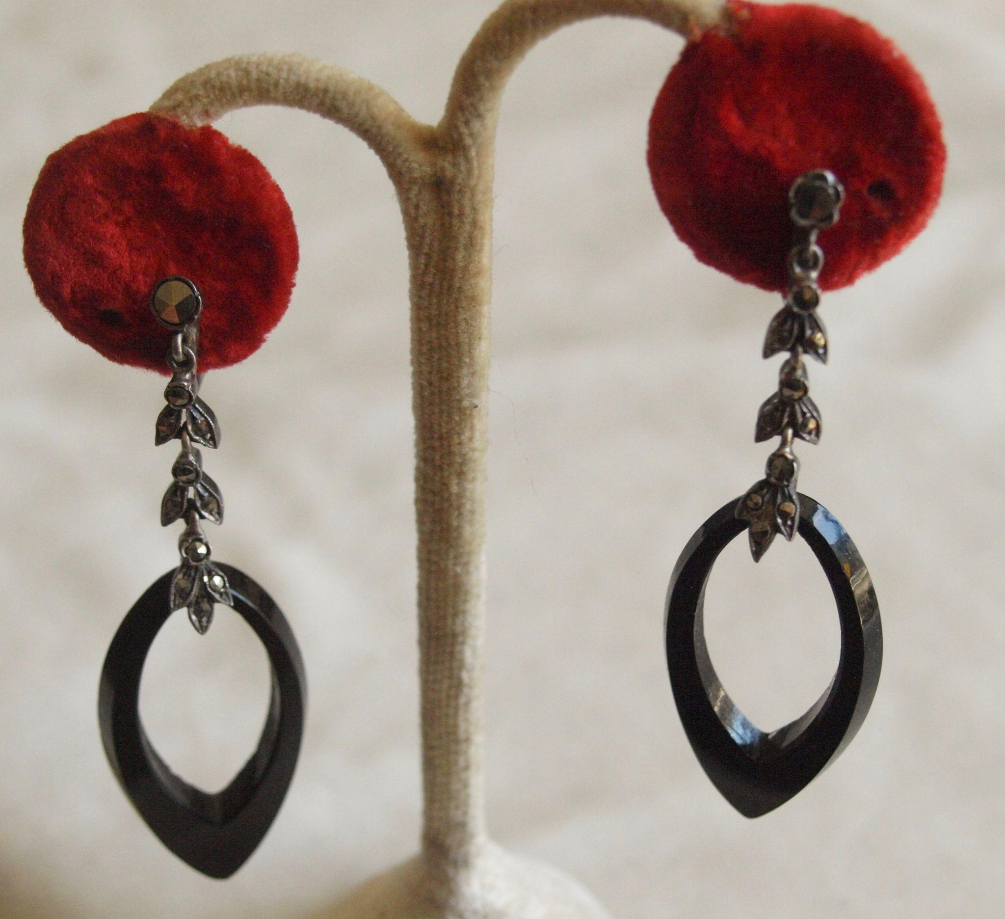 French Sterling Marcasite Glass Dangle Earrings