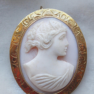Pink Cameo Brooch In 10k Gold Frame