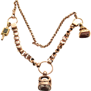 Decadent Victorian 14k Gold Watch Chain Necklace With Fobs