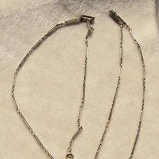 18k White Gold Y chain, Lorgnette Long Chain