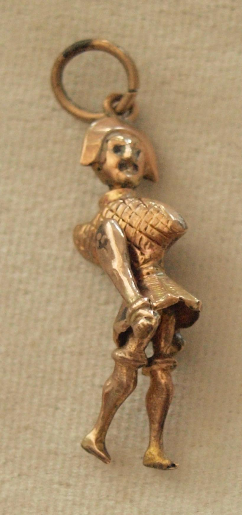 Victorian Articulated Army Man Charm In Gold