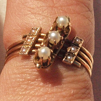 Intricate Victorian Pearl Ring in 14k Gold