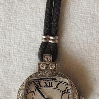Charming Art Deco Platinum Diamond Ladies Wrist Watch