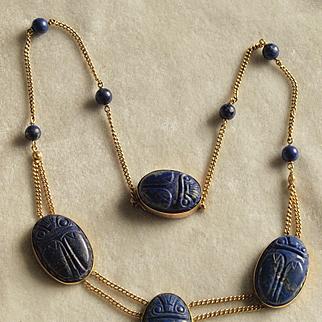 1920's Egyptian Revival Lapis Lazuli Scarab Necklace