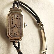 Ladies Art Deco 18k White Gold Bulova Watch