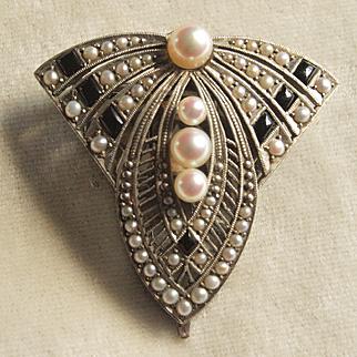 Decadent Art Deco Silver Pearl Dress Clip
