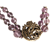 Art Nouveau Amethyst and Silver Choker Style Necklace