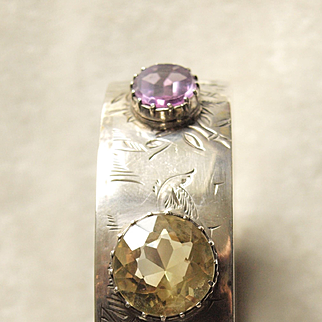 Victorian Sterling Engraved Bangle Bracelet With Citrine and Amethyst