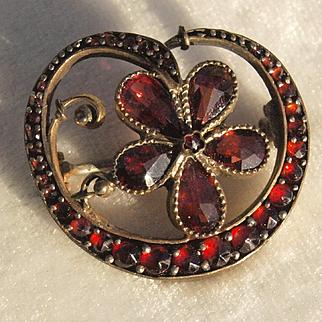 Victorian Garnet Flower Pin