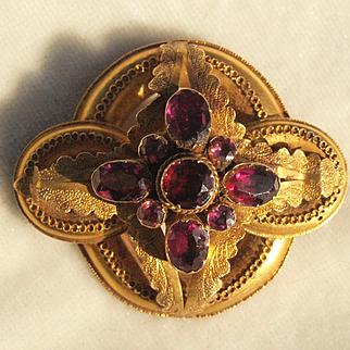 Victorian Rhodolite Garnet Brooch in 14k Gold