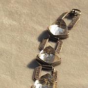 1920's Art Deco Huge Rock Crystal Bullet Cab Bracelet