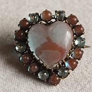 Victorian Heart Saphiret Brooch
