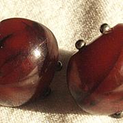 1920's Dark Cherry Amber Earrrings Wonderful Design