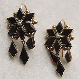 Victorian 14k Gold Black Onyx Drop Earrings