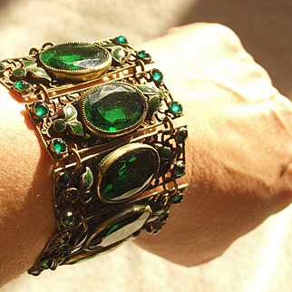 Large Green Max Neiger Brass And Glass Bracewlet
