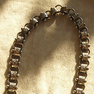 Victorian Sterling Fancy Book Chain Collar Necklace