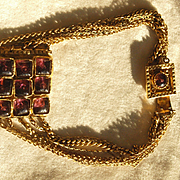 Henry Perichon Choker Necklace in Bronze And Purple Glass