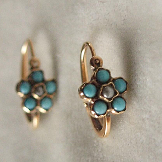 Victorian Gold Dormeuse Earrings Forget Me Not in Turquoise