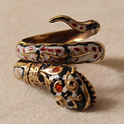 Sizzling Enameled Snake Ring