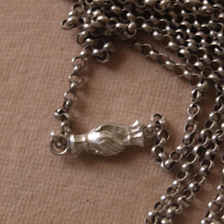 Victorian Silver Long Chain With Hands Of Friendship Clasp