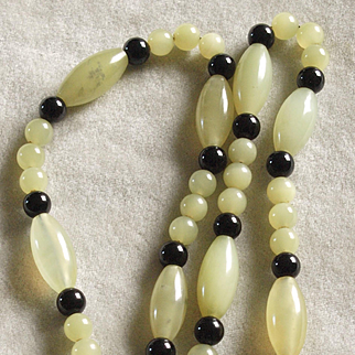 Celadon Jade And Black Onyx Necklace