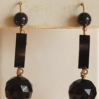 Victorian Faceted Black Onyx Dangle Earrings