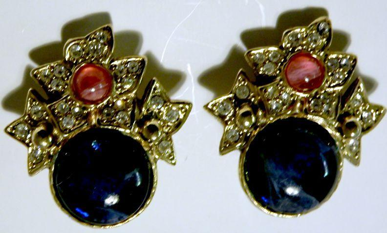 Blue/Pink Glass Cabochon Rhinestone Earrings - Lovely