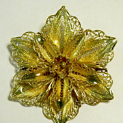 Sterling Gold Wash CANNETILLE Flower w/Plique-a-Jour Enamel