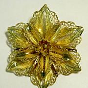 Sterling Gold Wash CANNETILLE Flower w/Plique-a-Jour Enamel