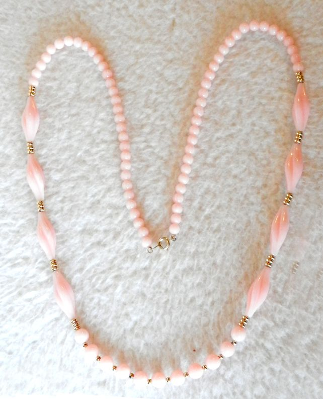 TRIFARI Twisted & Round Bead Faux Angel Skin Coral Lucite Necklace