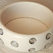 Vintage Rhinestone-Studded Lucite Bangle