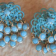 Aqua/Blue Japanned Earrings w/Glass Dangles