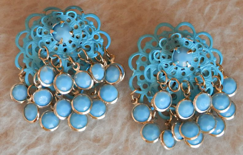 Aqua/Blue Japanned Earrings w/Glass Dangles