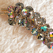 JULIANA  Grey Rhinestone and Vitrail Bead Brooch - Unusual