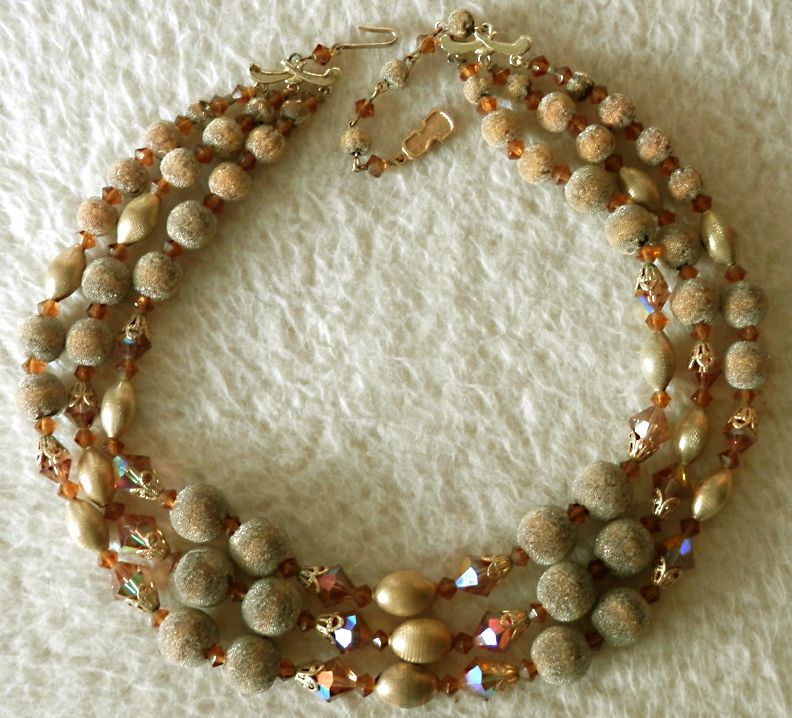 Amber Sugar Bead & Glass 3-Strand Vintage Necklace