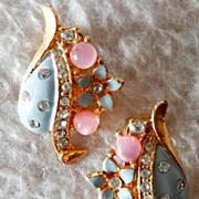 Floral & Rhinestone Earring Set