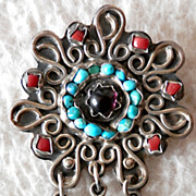 MEXICAN STERLING Brooch/Pendant with Semi-Precious Stones