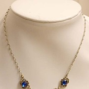 True ART DECO Blue Glass Necklace