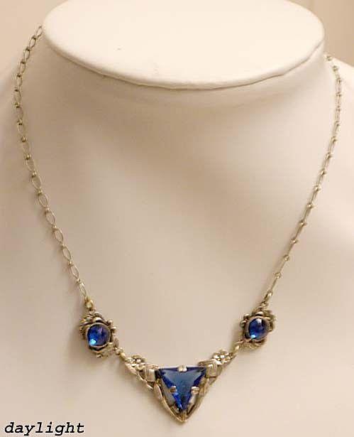 True ART DECO Blue Glass Necklace