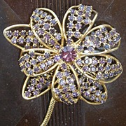Large Mid-Century HOBE' Flower Brooch
