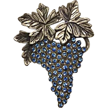 Vintage GRAPES and LEAVES Brooch