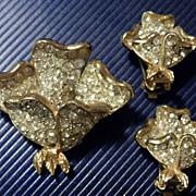 CAPRI Rhinestone Demi-Parure Brooch & Earrings