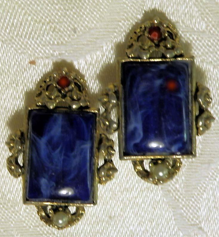 Ornate Mid-Century BLUE GLASS Earrings