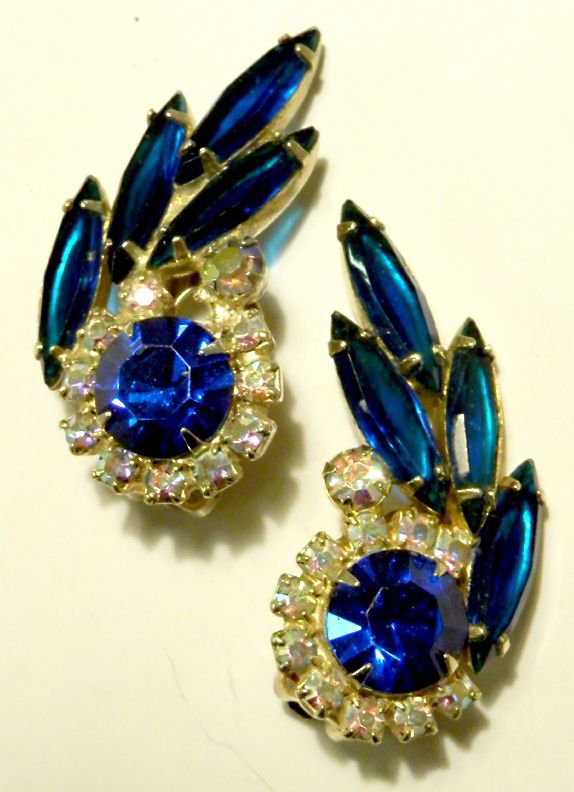 Eye-catching Royal Blue & AB Round and Navette Rhinestone Earrings