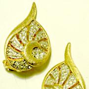 POLCINI Open-Work Pave' Rhinestone Earrings